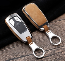High Quality Car Sued Leather Key Ring Case Holder Cover For Audi A4 Allroad B9 Q5 Q7 TT TTS 4M 8S 2016 2017 2018 Accessories