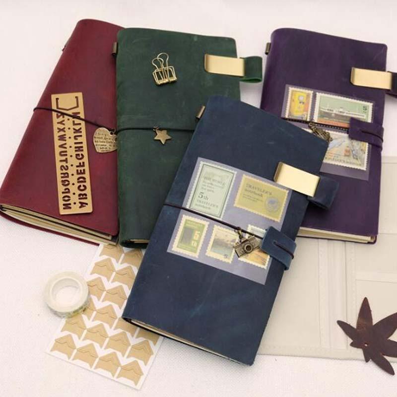 Color Vintage Traveler's Notebook Cowhide Diary Handmade