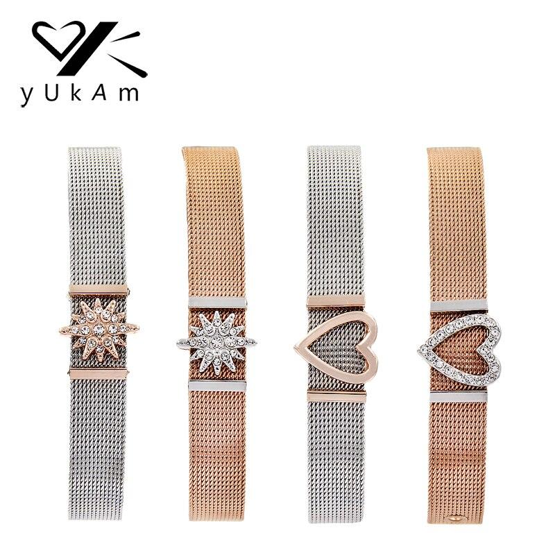 YUKAM Schmuck Keeper Schlüssel Rose Gold Kristall North Star Herz Dia Charme Edelstahl Mesh Keeper Armbänder für Frauen Geschenke