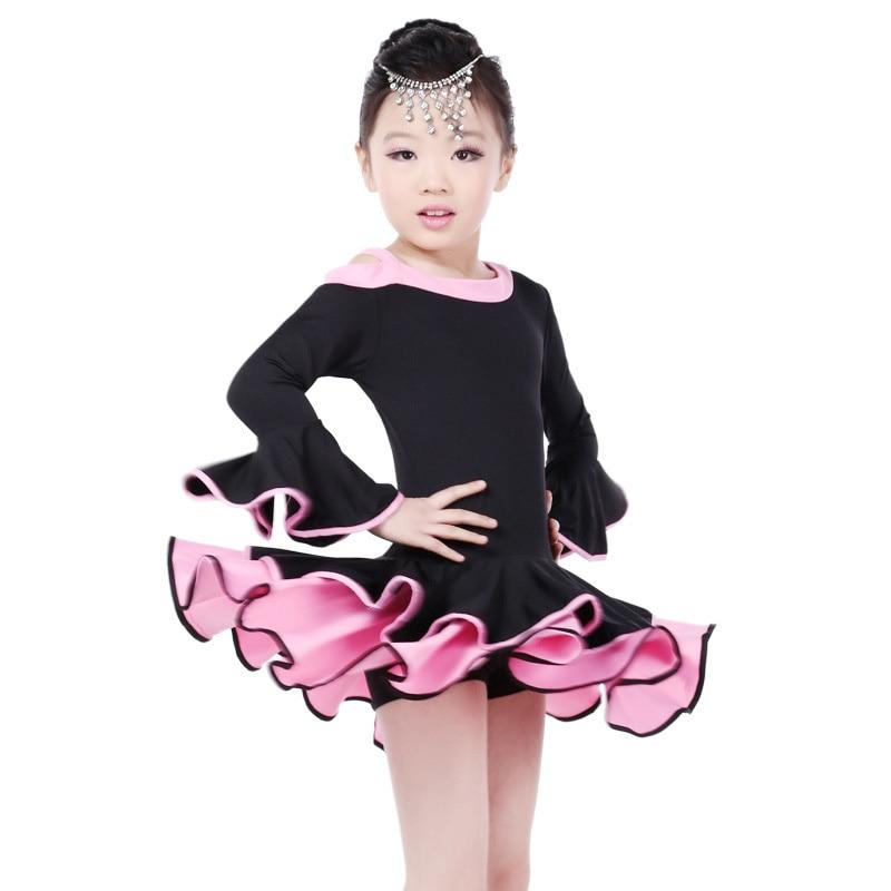 Blue/ Black 2016 New Half Sleeves Girls Latin Dress 100-165cm Dress Latina Samba Costumes Salsa Clothes For Children Age 4-17Y