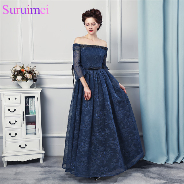 Strapless Evening Gown Navy Bule Prom Dresses with Short Sleves Off ...
