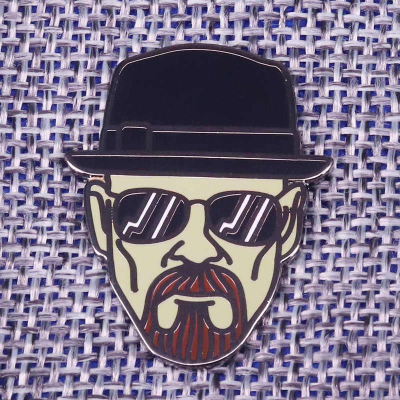 Breaking Bad Heisenberg brooch cool black hat lapel pin lightening bolt sunglasses badge charm men jewelry shirt jackets access