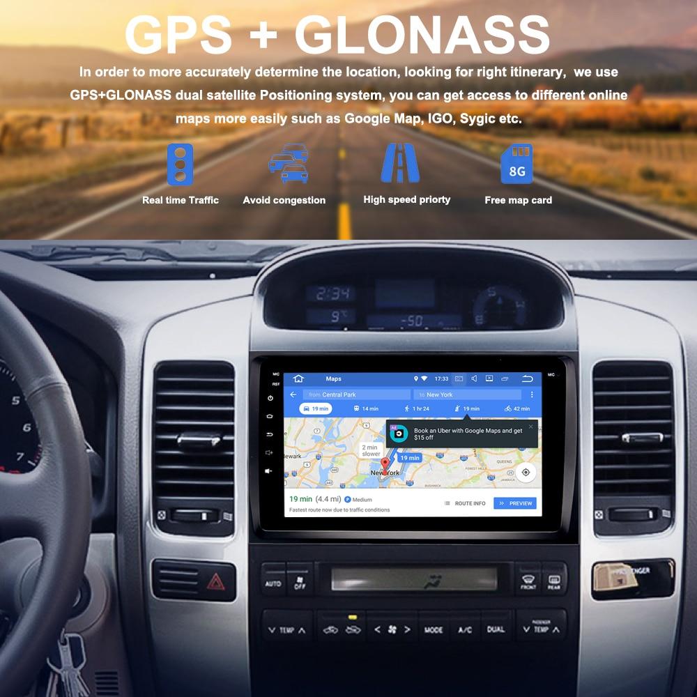 Car Multimedia GPS for Toyota LAND CRUISER Prado 120 2004 2009 Android 8 0 2 5D