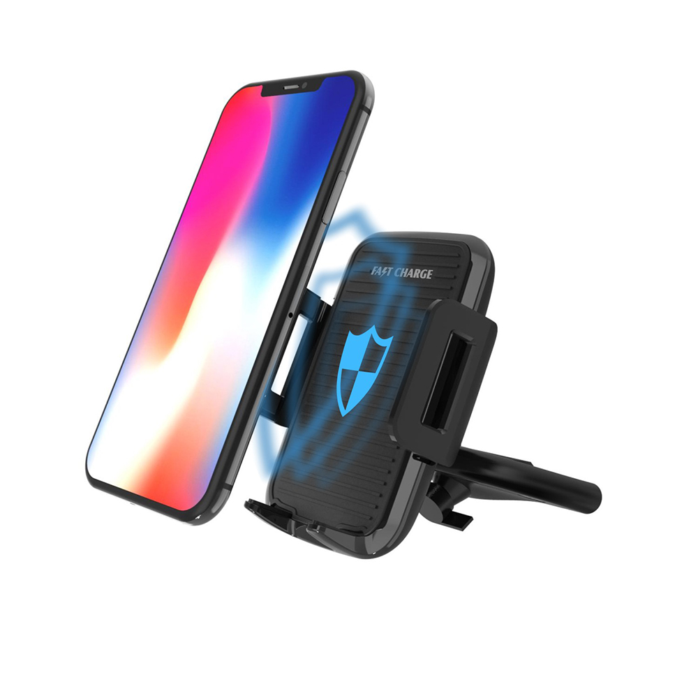 Qi Wireless Charger Phone Charging Stand CD Slot Mount