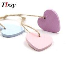 10 Uds. De adornos colgantes de madera con corazones de madera para decoración de bodas, decoraciones para fiesta de cumpleaños