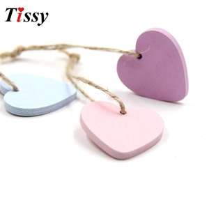 10PC Wood Craft Lovely Wooden Hearts Wooden Pendants Ornaments Wedding Favors Vintage Home Wedding/Birthday Party Decorations