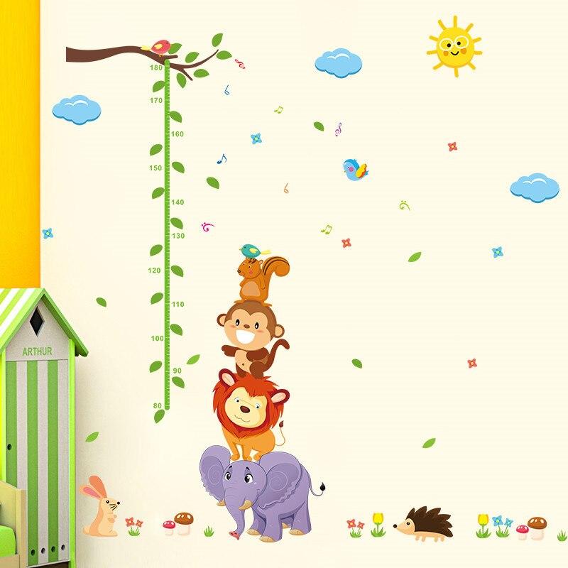 Urijk Messen Höhe Aufkleber Catroon Eisenbahnwagen Tier Wand Aufkleber Decals für Kinder Wachstum Chart Baby Kindergarten Dekoration