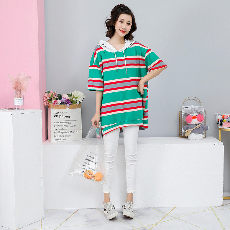 2019 Summer New Arrival Colorful Stripe Top Plus Size Women Tshirts Embroidered Letters Hooded T Shirt For Women Free Shipping