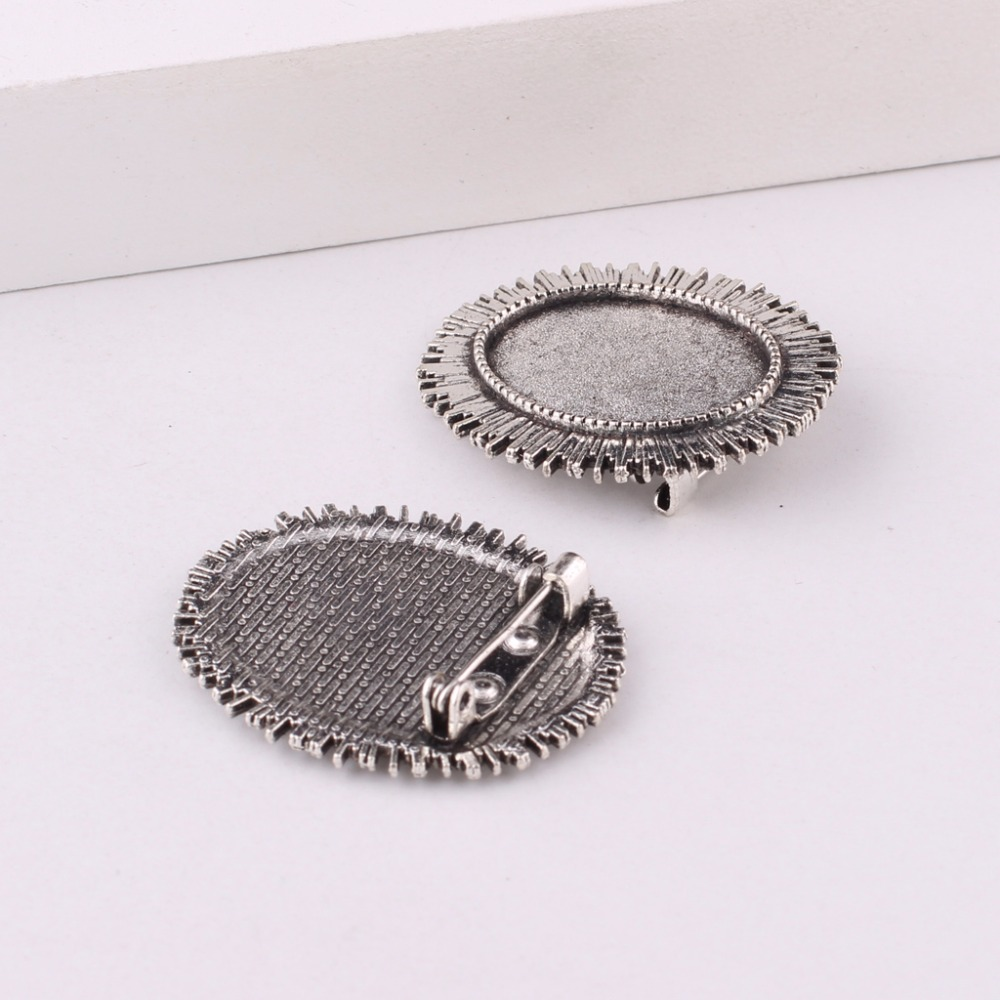 2 XAntique silver cabochon oval brooch setting size fits 18 X 25 mm glass