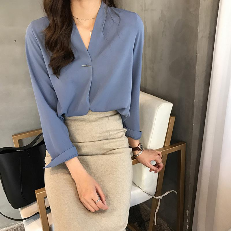 Yfashion Sollid Chiffon Shirt Blouse Women V Collar Long Sleeve Fashion Lady Shirts Blousees Casual OL Female