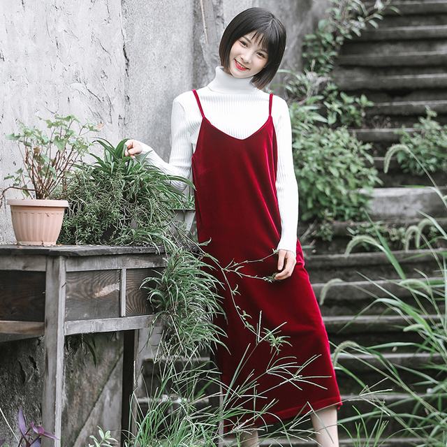 Free Shipping 2019 New Fashion Plus Size XS-4XL Long Mid-Calf Dress Autumn Sleeveless Velvet Dress Red And Black Customized