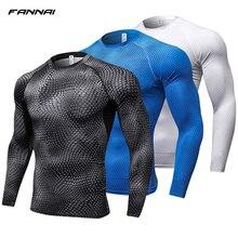 2019 Running Shirt Men Print Gym Fitness Rashguard MMA Long Sleeve Running T Shirt Crossfit Bodybuilding