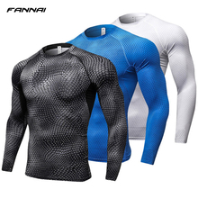 2019 Running Shirt Men Print Gym Fitness Rashguard MMA Long Sleeve Running T-Shirt Crossfit Bodybuilding workout Shirts Tops