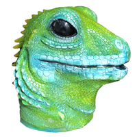 Latex Jungle Animal Full Head Masks Lizard Cosplay Masks Halloween Costume Disguise for Adults Green