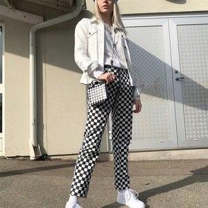 Image 4 - InstaHot Pantalones rectos a cuadros con cremallera para mujer, pantalón largo informal con bolsillos ajustados, a la moda, color blanco y negro