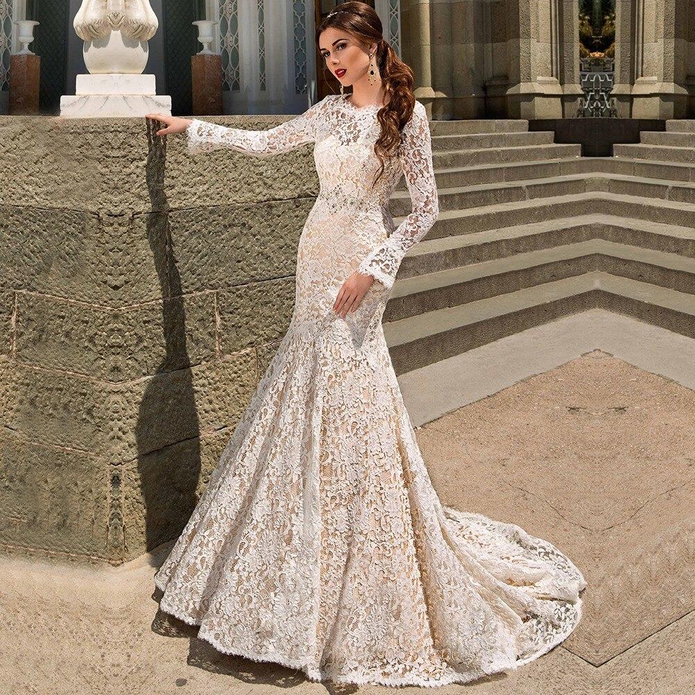 vestidos de novia robe de mariage moderno atractivo de la sirena backless largo sin mangas