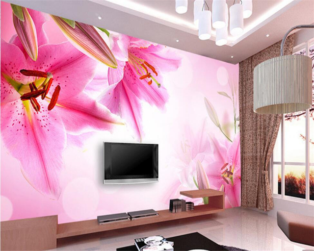 Aliexpress.com : Buy Beibehang 3D Wallpaper Lily TV Backdrop ...
