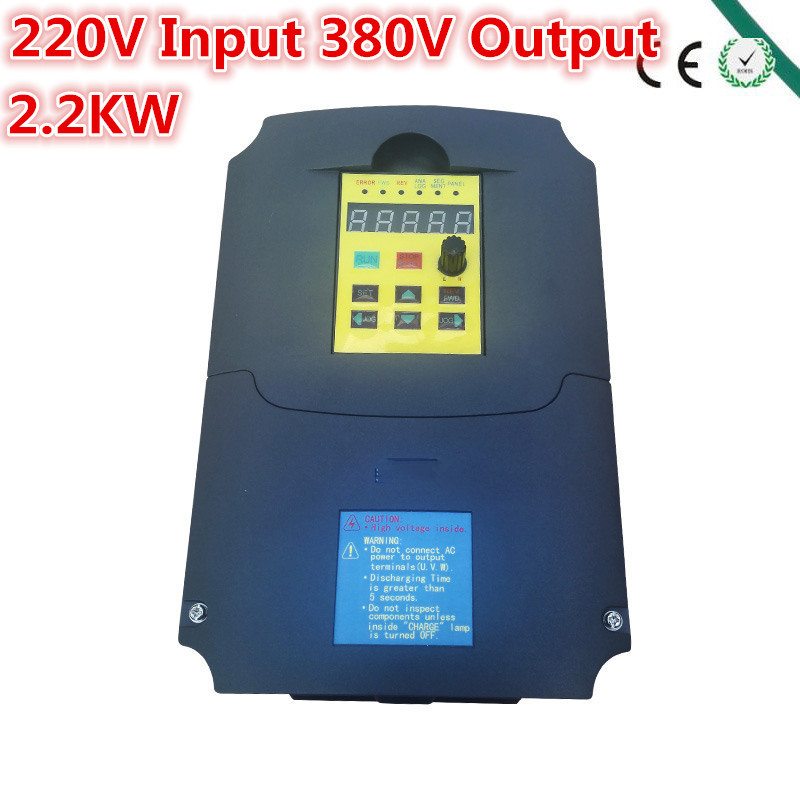 Input 220V single phase Output 380V 3phase VFD Inverter 2.2KW 2200W 3hp 400Hz Variable Frequency Drive for Motor/Spindle