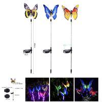 3pcs Garden Solar Lights Outdoor Multi color Changing LED Fiber Optic Butterfly Decorative Light LB88