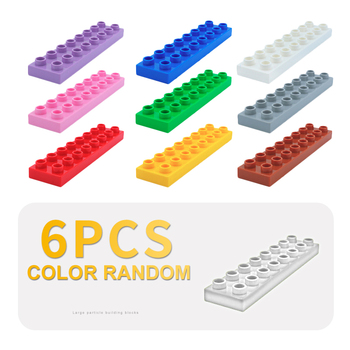 6pcs 2x8 16 dots thin Bricks Original Big Particles Building Blocks accessory Gift Baby DIY Toys Compatible with Duplo Basic Set 50pcs large particles numbers train building blocks bricks educational babycity toys compatible with duplo diy