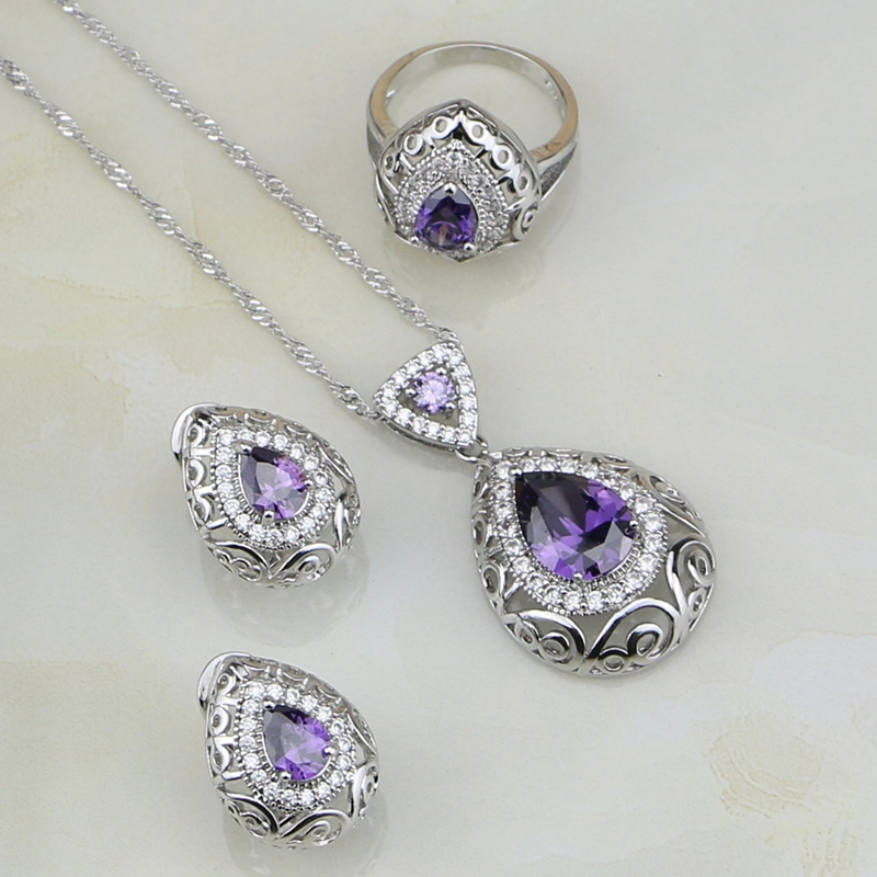 Jewelry-Sets Natural Crystal Necklace/ring 925-Sterling-Silver Purple Cubic-Zirconia
