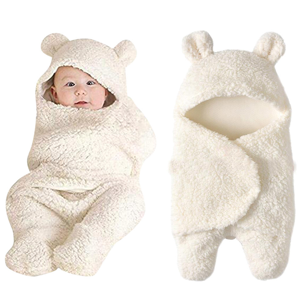 Newborn Baby Cute Cotton Receiving White Sleeping Blanket Boy Girl Wrap Swaddle7.036gg