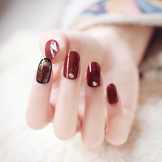 24pcs False Nails Full Y Black And Red Acrylic Dots Design French Nail Tips For