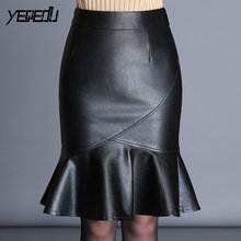 #6076 Winter Trumpet Mermaid Skirts Womens Black/Red Faux leather Skirt Plus Size 4XL PU Leather Skirt Pleated Elegant Black Red