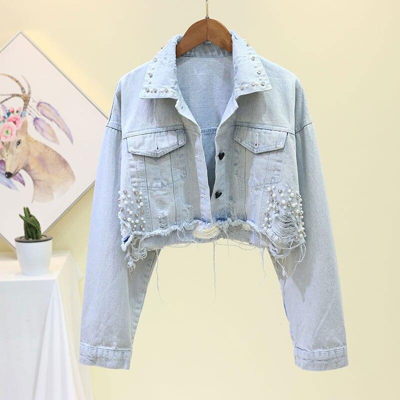 2019 Autumn Denim Coat For Women Loose Beading Denim Jacket Women Coat Button Hole Cool Jacket Women Cropped Tops Streetwear