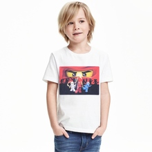 2017 Summer Fashion Cartoon printing Boy T-shirts Short sleeves White Tops O-Neck Letter Kids Clothes t shirt boys kids 1-12y