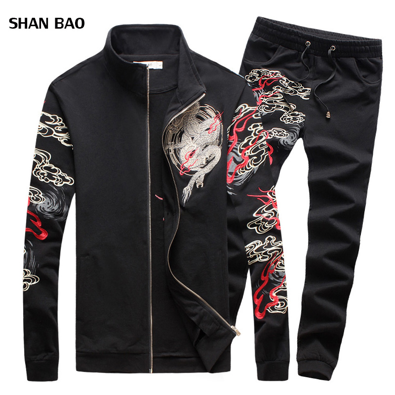 SHAN BAO 2017 New Fashion Mens Sets Chinese Style Dragon Print Sportswear High Quality Clothing Suits For Men 5XL
