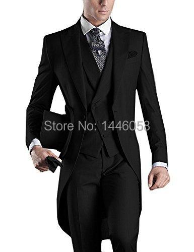 Wedding Suit For Men Custom Made 2018 Morning Long Jacket Tailcoat 3 Pieces Men Slim Fit Suit Black Groom Tuxedo Suit Bridegroom