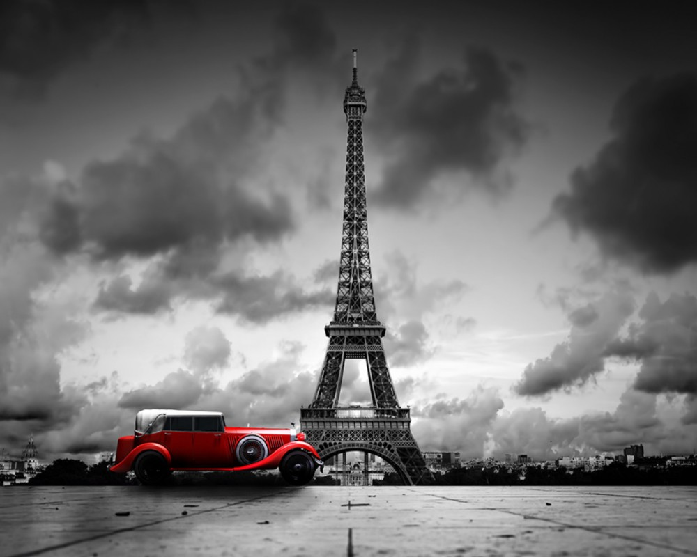 Free Shipping Photo Wallpaper Paris Eiffel Tower Black And White Car Wall Custom 3d Living Room Mural Hotel Decoration Wallpaper Wallpapers Aliexpress