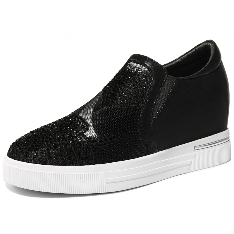 ФОТО Women's Summer 2017 Black White Platform Height Increasing Breathable Crystal Lady Girl Flats Shoes