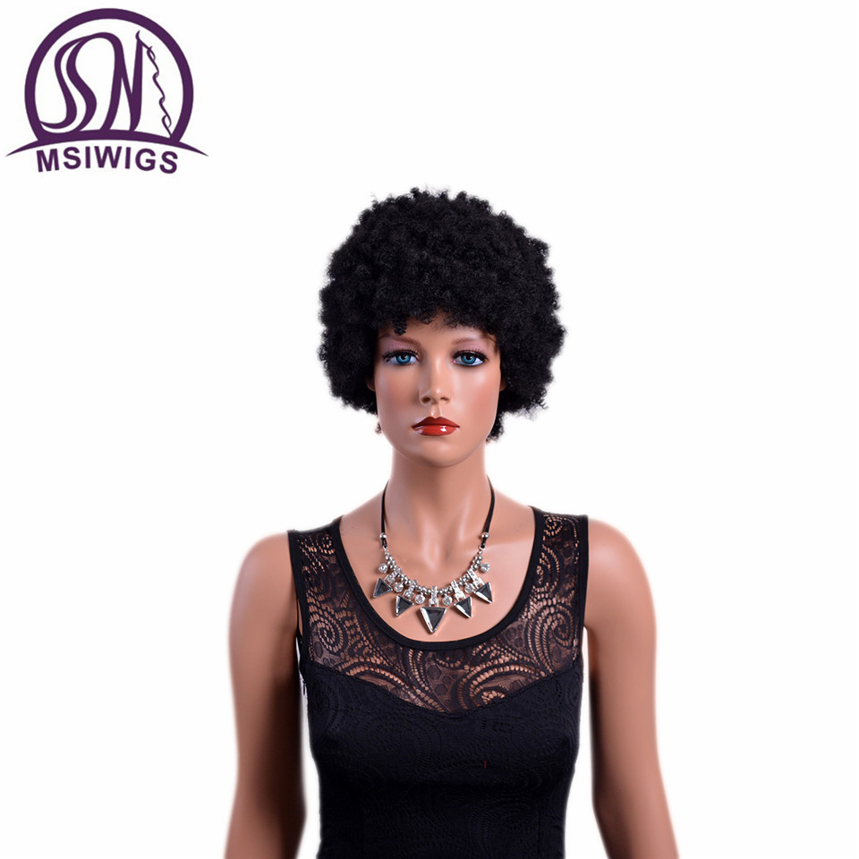 MSIWIGS Curly Short Synthetic Afro Wigs High Temperature Fiber Natural Black African Wig for Black Women Two Models
