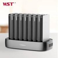 WST портативная зарядная станция для семейного бизнеса 8 шт. 8000 мАч power Bank со встроенным зарядным кабелем зарядная станция