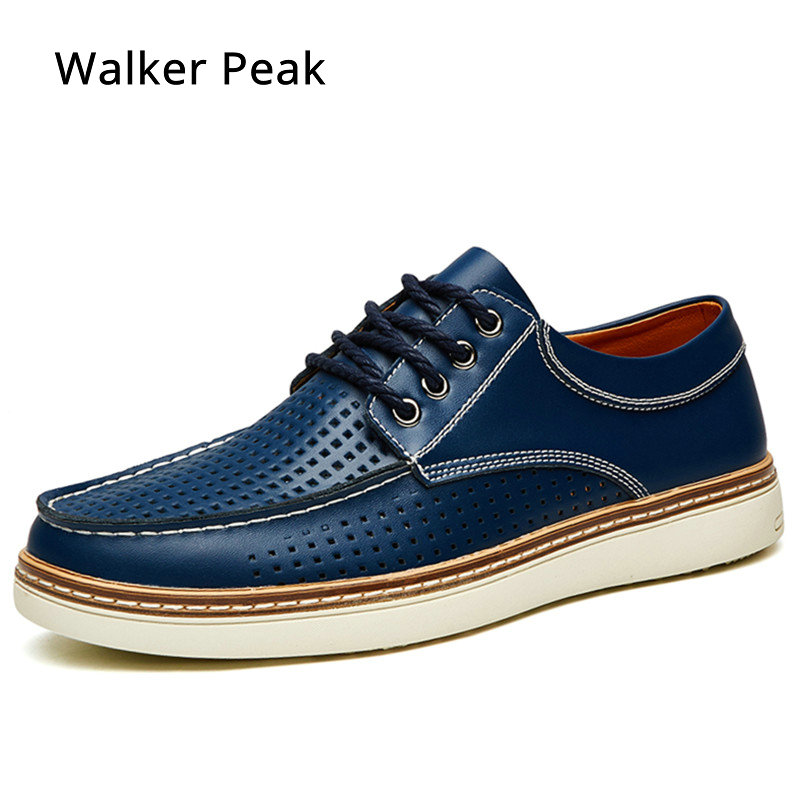 Mens Casual Shoes Genuine Leather Business Men Dress Shoes Summer Fashion Breathable Lace-up Man Designer Sneakers Walker Peak