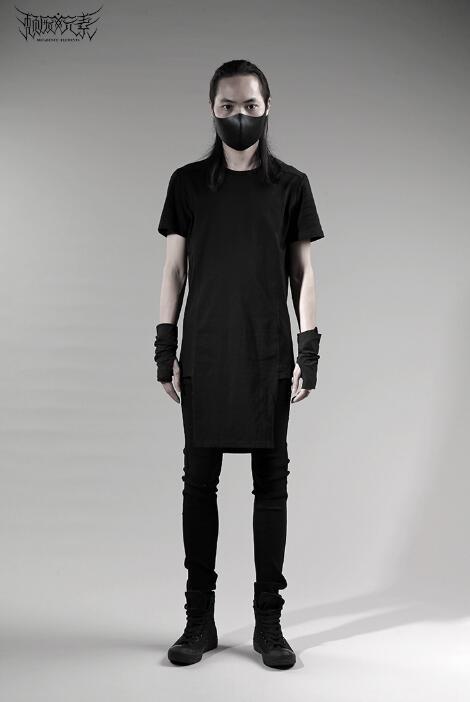 Breve da forma do projeto original do punk sexy slim camisa dos homens de manga comprida camisa adolescente coreano projeto longo T shirt dos homens personalidade - 3