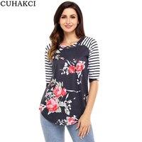 CUHAKCI Autumn T Shirts Women Floral Print T Shirt Fashion Stripe Sleeve Casual Tops O Neck