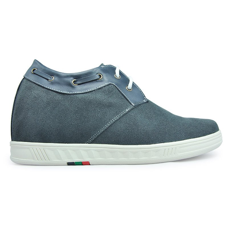 9095-Gray suede Height elevating  shoes fashion and comfortable