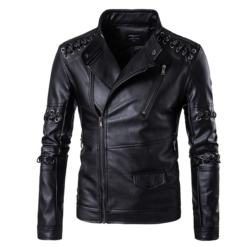 M-5XL Large Size Men Black Casual Winter Coat Leather Stand Neck The New Personalized Woven Rope Collar Men's Leather Motorcycle