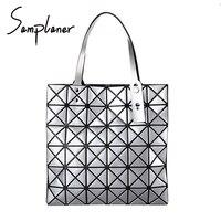 New Ling Grid Top Handle Bags Women BaoBao PVC Korea Ladies Handbags Geometry Casual Diamond Handbag