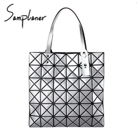 Nova Grade Ling Top-handle Bags Mulheres BaoBao Coreia Do PVC Das Senhoras bolsas Geometria Diamante Casuais Bolsa Feminina Bolsa de Laser Saco Sac um principal