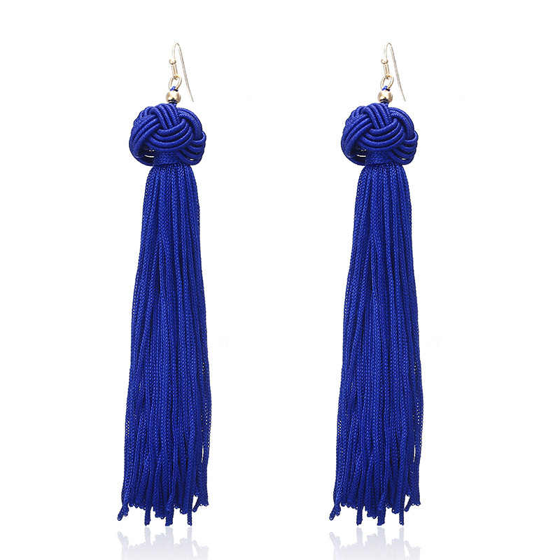 E0121 Bohemian Long Tassel Earrings For Women 2018  Navy Blue Vintage Retro Drop Dangle Tassel Earrings Wedding Female Jewelry