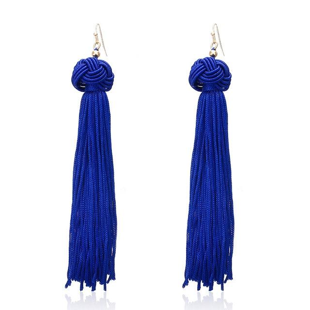 E0121 Bohemian Long Tassel Earrings For Women 2018 Navy Blue Vintage Retro Drop
