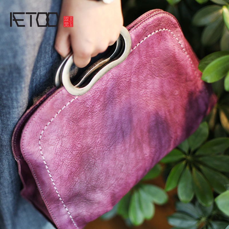 AETOO Retro original Chinese wind hand cowhide handbags national wind metal handle handbag leather shoulder Messenger bag original national wind leather ladies handbag 2017 spring of the new chinese wind hand bag woman women s handbags