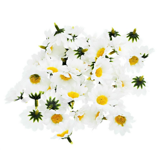 100pcs 4cm Artificial Flowers Daisy With Yellow Core Wedding Decoration  Simulation Flower Home Decor For Scrapbooking