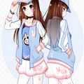 Anime Game Girl Women Sky Blue Sweety Cosplay Costume Zipper Coat Casual Jacket  Fashion