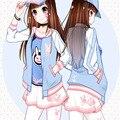 Juego Anime Girl Mujeres Cielo Azul Sweety Cosplay Capa de la Cremallera Chaqueta Ocasional de Moda