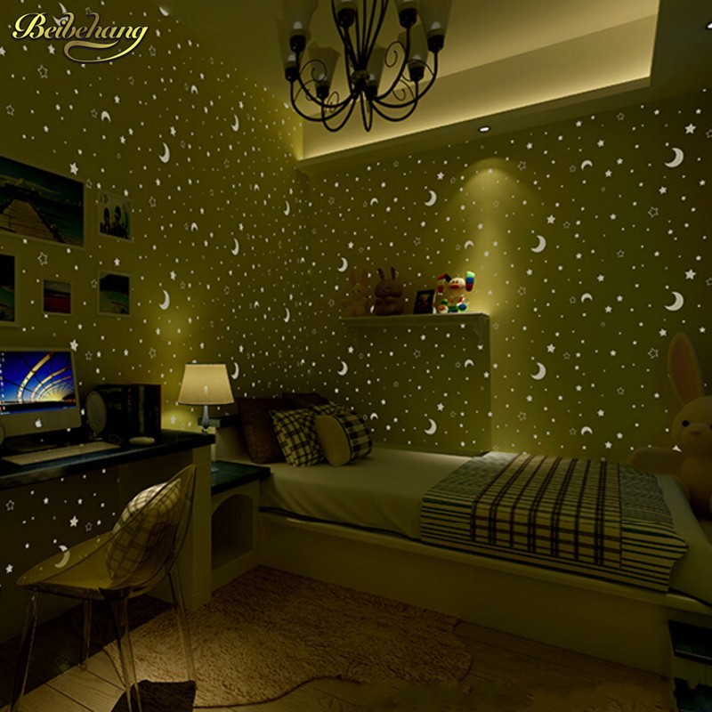 beibehang 3d wall paper children's room luminous moon and the stars little boys and girls bedroom wallpaper fluorescence fluorescence creative fairy stars luminous switch wall sticker